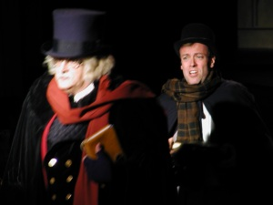"Chasing after Scrooge in the Ritz's production of ""Scrooge, the Musical."""