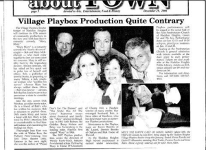 "Newspaper article showcasing the Village Playbox's prodcution of ""Mary, Mary."" I played Dirk Winston, an aging movie star."