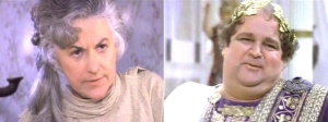 Screen shots of Bea Arthur and Dom Deluise from Mel Brooks' History of the World
