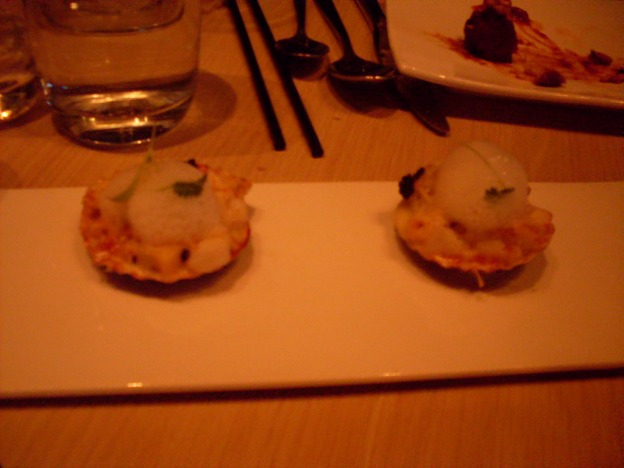 Scallops with truffle-parmesan creme, foam, and caviar