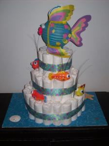 Diaper Cake with Fish Theme