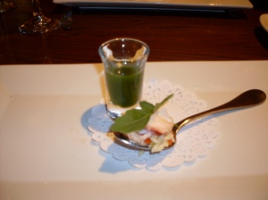 Lobster with Arugula Shooter. Truly amazing.