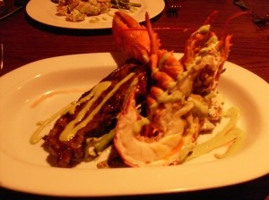 Surf & Turf:  10 oz NY Strip, half chilled lobster, asparagus, and roasted potato salad all for $30.  (My camera is dying)