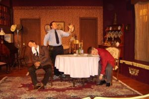 Me as Mortimer in Arsenic & Old Lace at the Woodbury Sketch Club. (I'm the one tied up and gagged.)