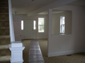 Looking into the living and dining room from the kitchen