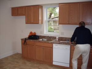 The kitchen (and the back of the inspector)