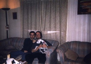 My ex-Wade and me with Sissy. She's wearing her first dog collar, which I still have. It has tags from 1999 on it.